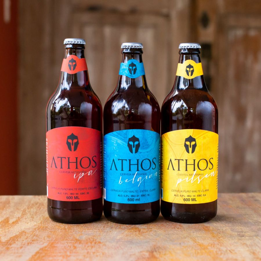 Athos - Kit 3 - Sacola Cervejas e Copo